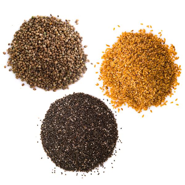 chia seeds, hemp seeds, flax seeds